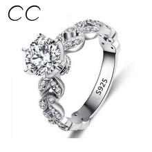 1.5กะรัตZ Irconiaแต่งงานแหวนหมั้นสำหรับผู้หญิงทองคำขาวชุบเครื่องประดับแฟชั่นหญิงแหวนBijoux Bagueขายส่งCC097