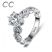 1.5 Carat Zirconia Wedding Engagement Rings For Women White Gold Plated Fashion Jewelry Female Ring Bijoux Bague Wholesale CC097(China (Mainland))