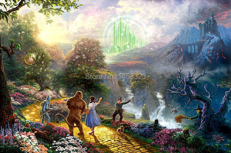 Thomas kinkade printing cartoon 100%Cotton canvas prints, Dorothy Discovers the Emerald City,arts for home decoration,wall decor(China (Mainland))