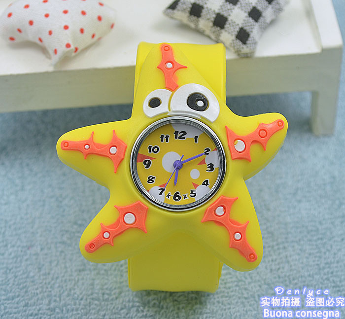 100pcs/lot ! 2016 Brand New Children's Starfish Slap Watch Silicone Animal Digital Wristwatch Gigt Toy G012 Free Shipping(China (Mainland))