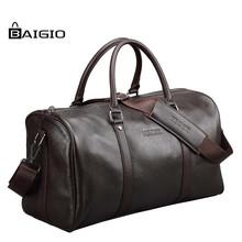 Baigio Men Travel Bag Genuine Leather Large Capacity Luggage Waterproof Weekend Duffle Bag(China (Mainland))