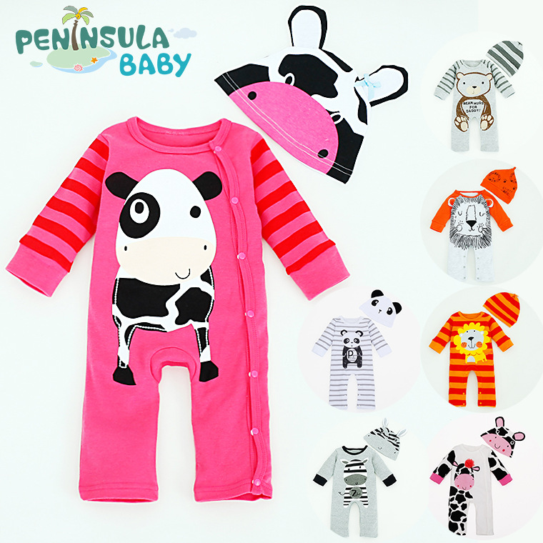 Cute cartoon pictures cotton comfortable unisex baby clothes long sleeve baby sets bodysuit with hat(China (Mainland))