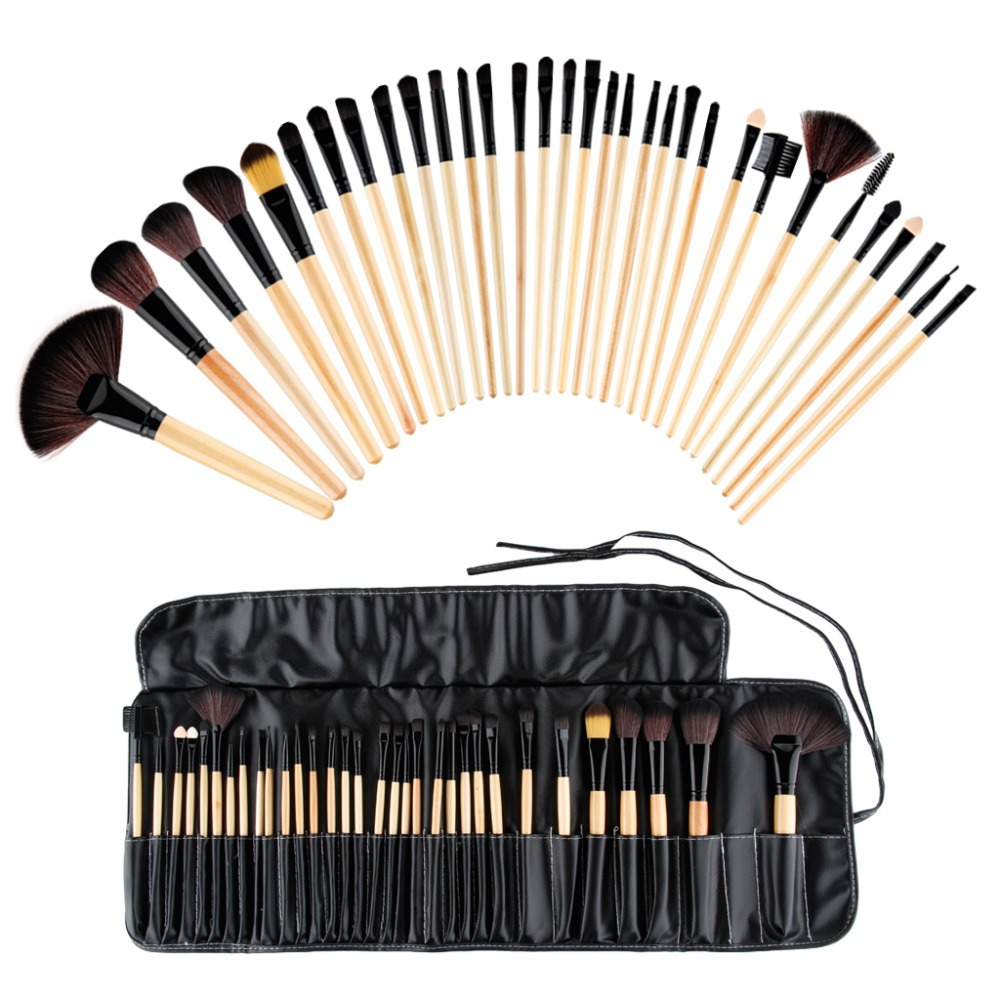 2015 Top Sale Best fashion Professional 32 pcs Wood Superior Cosmetic Makeup Brush Makeup brush Tools Set Kit Pouch Bag(China (Mainland))