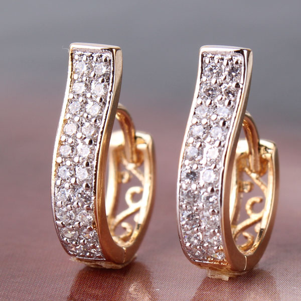 18k Gold Platinum Crystal Trendy Hoop Earrings Simulated Diamond Jewelry For Women Birthday Valentine Gift Free Shipping E105d(China (Mainland))