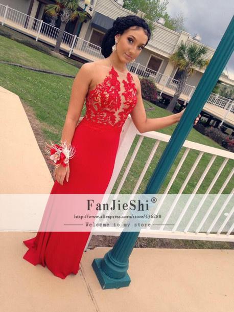 Vestido De Festa Floor-Length O-Neck Sleeveless Appliques Backless 2015 New Custom Made Red Mermaid Prom Dresses - Suzhou FanJieShi Wedding Dress Co., Ltd. store