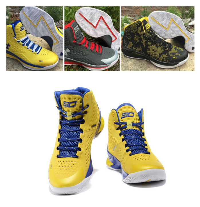 2015 Hot Mens Brand USA 30 Stephen Curry One 1 Athletic Basketball Shoes Male Sport Sneaker 41-46 Black/Yellow Free Shipping(China (Mainland))
