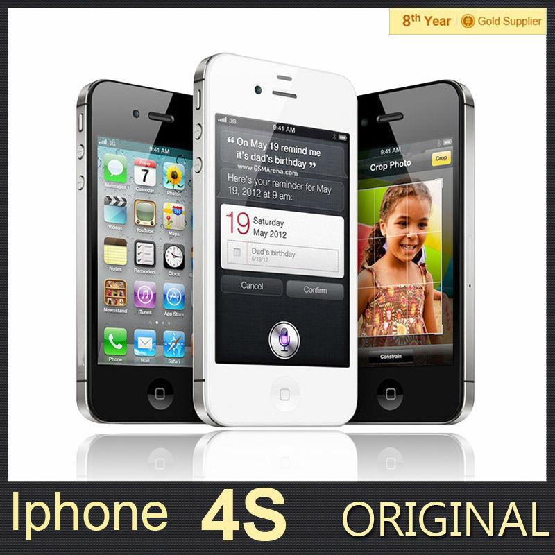 100% Original Unlocked iPhone 4S Mobile Phone 16GB 32GB 64GB ROM Dual core WCDMA 3G WIFI GPS 8MP Camera Used apple Cell phone(Hong Kong)