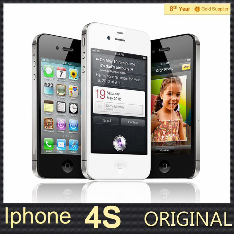 100% Original Unlocked iPhone 4S Mobile Phone 16GB 32GB 64GB ROM Dual core WCDMA 3G WIFI GPS 8MP Camera Used apple Cell phone(Hong Kong)