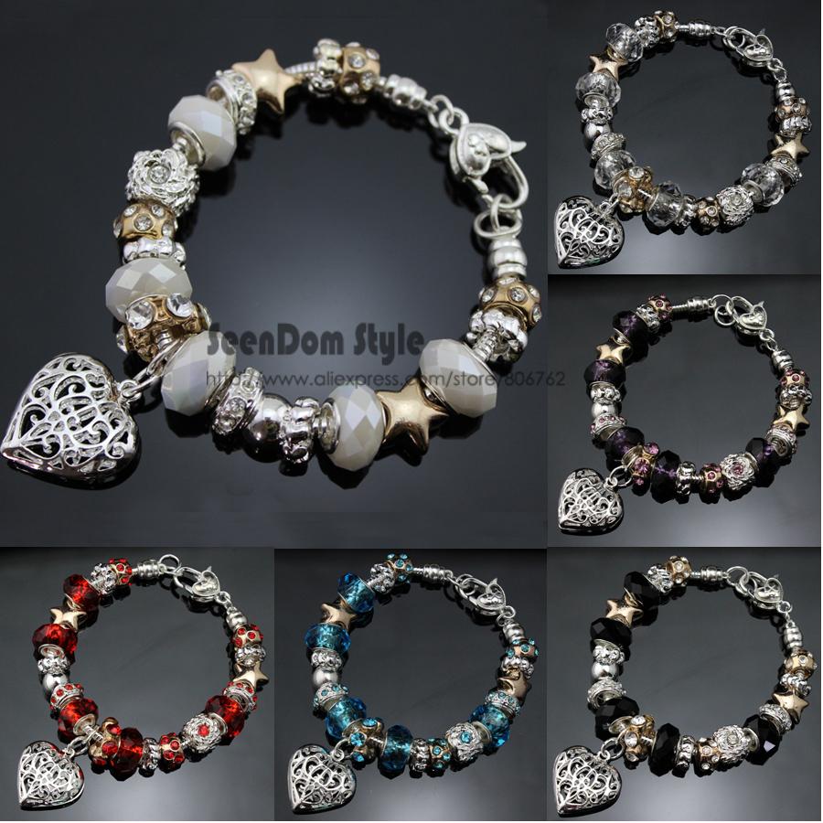 Valentines Gift Dangle Love Heart Pendant CZ Stone Charm Pulseira European Crystal Beads 925 Silver Bracelet + Velvet Pouch - SeenDom & Charms Jewelry store