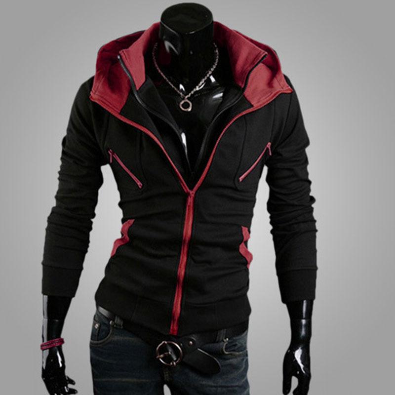 Sweatshirt 2015 new brand hoodies men double zipper moleton masculino patchwork long sleeve slim hoodie assassins creed MC88