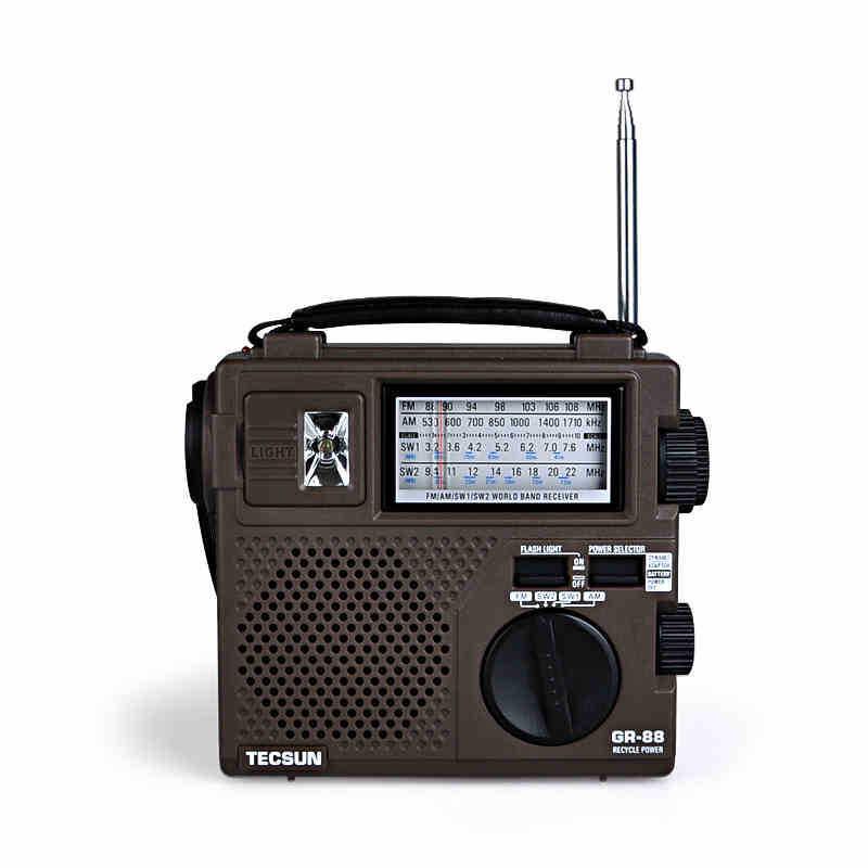 New TECSUN FM AM radio GREEN-88 FM/AM/SW Hand Crank Rechargeable Radio(China (Mainland))