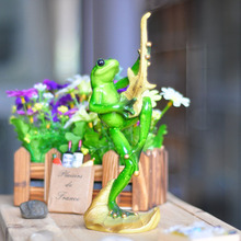 4 Styles Kawaii Music Singing Frog Figurines Novelty Resin Crafts Creative Gifts For Home Decoration Resin Animal Figurines