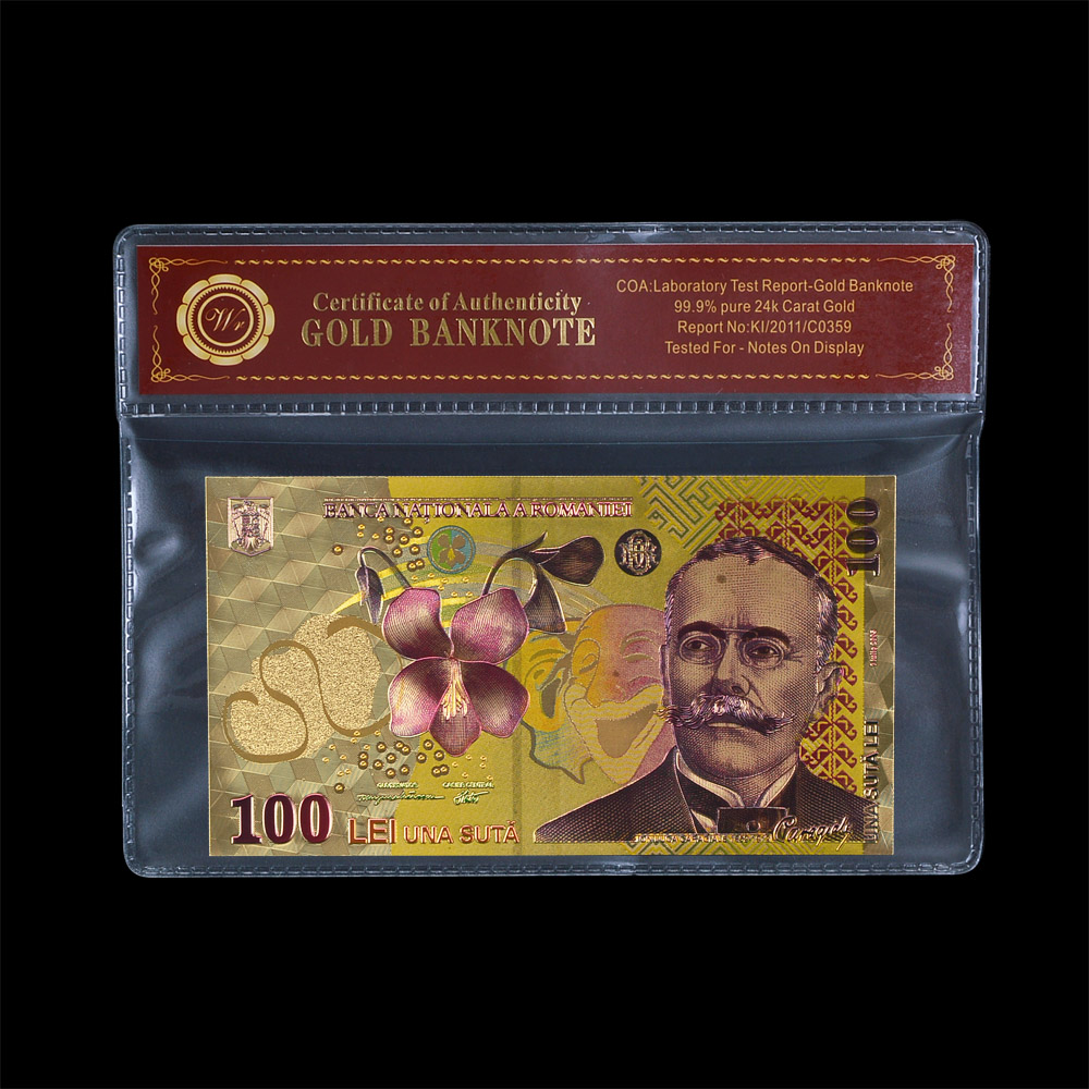 WR Corporate Gift Colorful Italy Gold Banknote Collectible Fashion Gifts 100 Lire Currency Paper Money In Plastic Case 1:1 Size(China (Mainland))