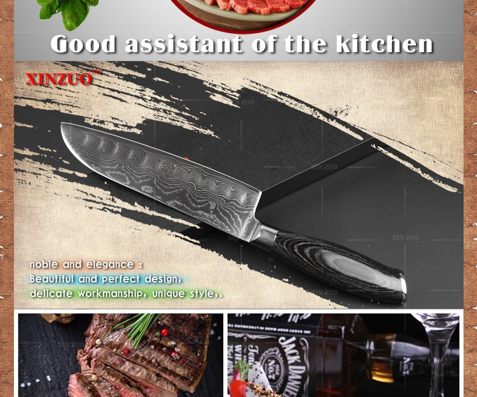"Buy 7""inch Japanese chef knife 73 layers Japan Damascus kitchen knife sharp meat santoku knife with Color wood handle free shipping cheap"