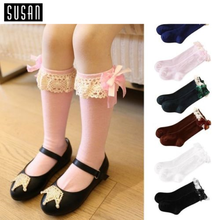Susan' Pretty Baby Toddler Newborn Infant Kid Girls Winter Warm Cotton Lace Knee High Socks Leg Warmers for 9 months to 8 years (China (Mainland))