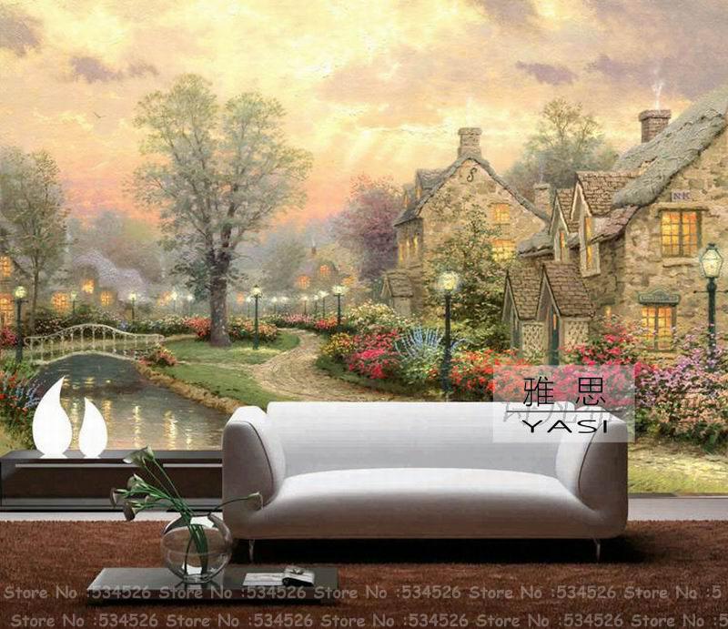 Landscape country 3d mural wallpaper european fresco papel for Papel de pared paisajes
