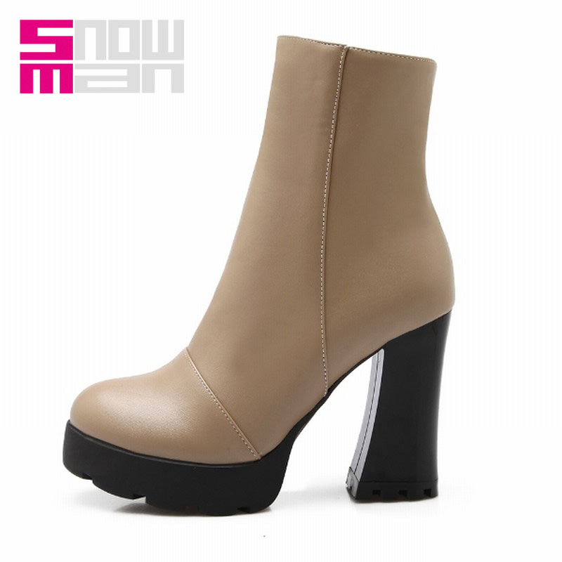 Women Boots Zapatos Mujer Sexy Hoof High Heels Short Boots Spring Winter Boots Women's Shoes Platform Shoes Woman Knight Boots