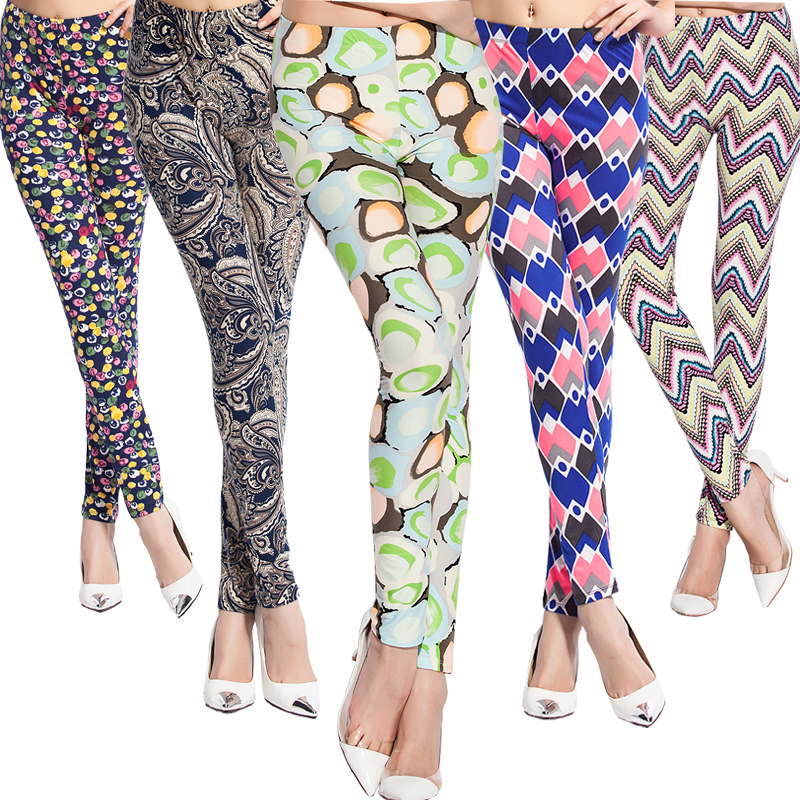 Newest 2016 Personality Print Soft Cotton with Spandex Leggings Fashion Women Sexy Female Pencil Pants S.M.L.XL(China (Mainland))