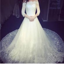 vestidos de noiva Cutensil Lace Long Train 1.5 M Wedding Dresses Plus Size Bridal Gown Wedding Dress WED90205(China (Mainland))