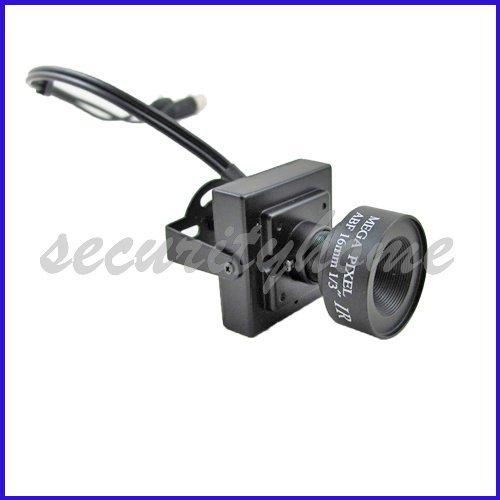 MINI Sharp CCD Color Home Surveillance Board Box Camera 16mm MTV Lens(China (Mainland))