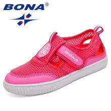 BONA החדש אופנה סגנון ילדי נעליים יומיומיות צבעים בוהקים רשת עליון ילד וילדה סניקרס וו & לולאה ילדים נעלי משלוח חינם(China)