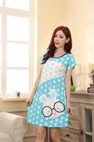 мода женщин летние пижамы мультфильм модальных сна платье домашняя одежда ночные сорочки сексуальные пижамы пижама короткий рукав Одежда