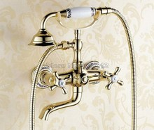 Buy Bathroom Wall Mounted Faucet Luxury Gold Color Brass Telephone Style Handheld Shower Head Dual Handles Bath Tub Mixer Tap Wtf408 for $84.67 in AliExpress store