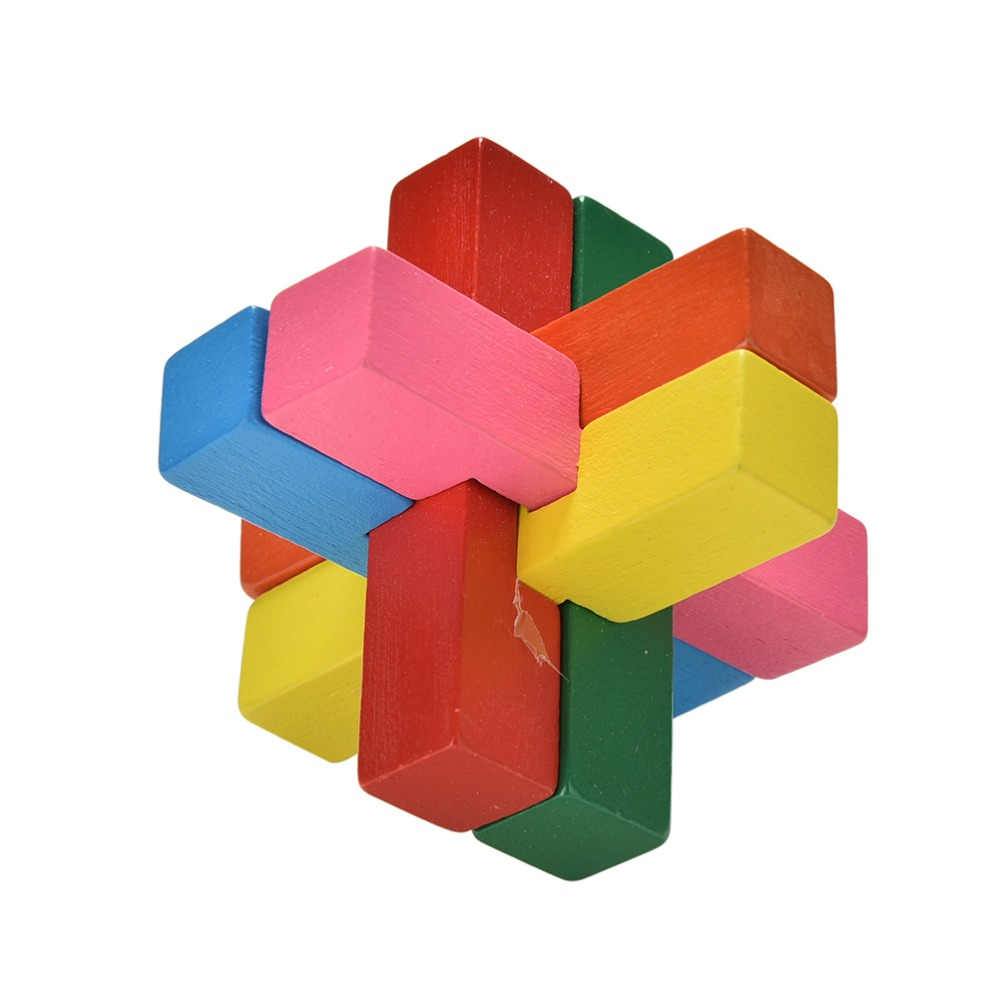 New Classical Intellectual Wooden Cube Educational Toy Wooden Puzzle Set Brain Teaser Kong Ming Luban Lock for Adult Children(China (Mainland))