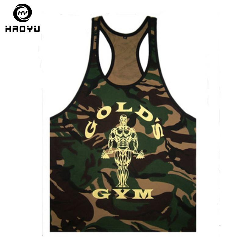 Nuevos Mens Fitness Tank Tops Culturismo Golds Ropa Marcas Camuflaje Para Hombre Autónomo Singlet Tank Tops Camisa Chaleco