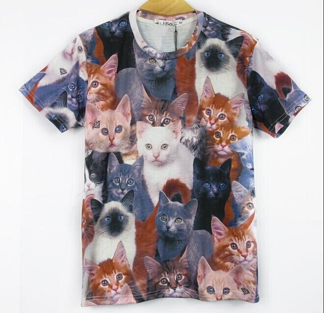 Women Men Clothing 3D Wild Beasts Pet Printed Panda Tiger Wolf Dog Cat Dinosaur T-shirt Short Sleeves Tops Tees Pattern 26(China (Mainland))