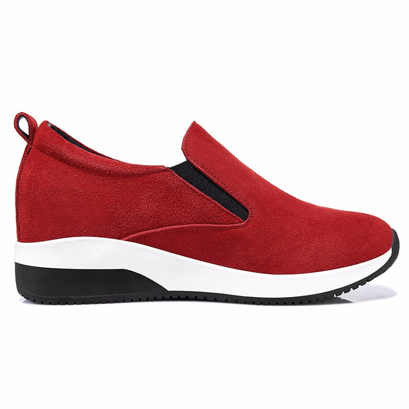 ซื้อ รองเท้าผู้หญิงMOOLECOLEผู้หญิงรองเท้าลำลองฝูงหนังผู้หญิงระบายอากาศความสูงที่เพิ่มขึ้นรองเท้า6Q313-3