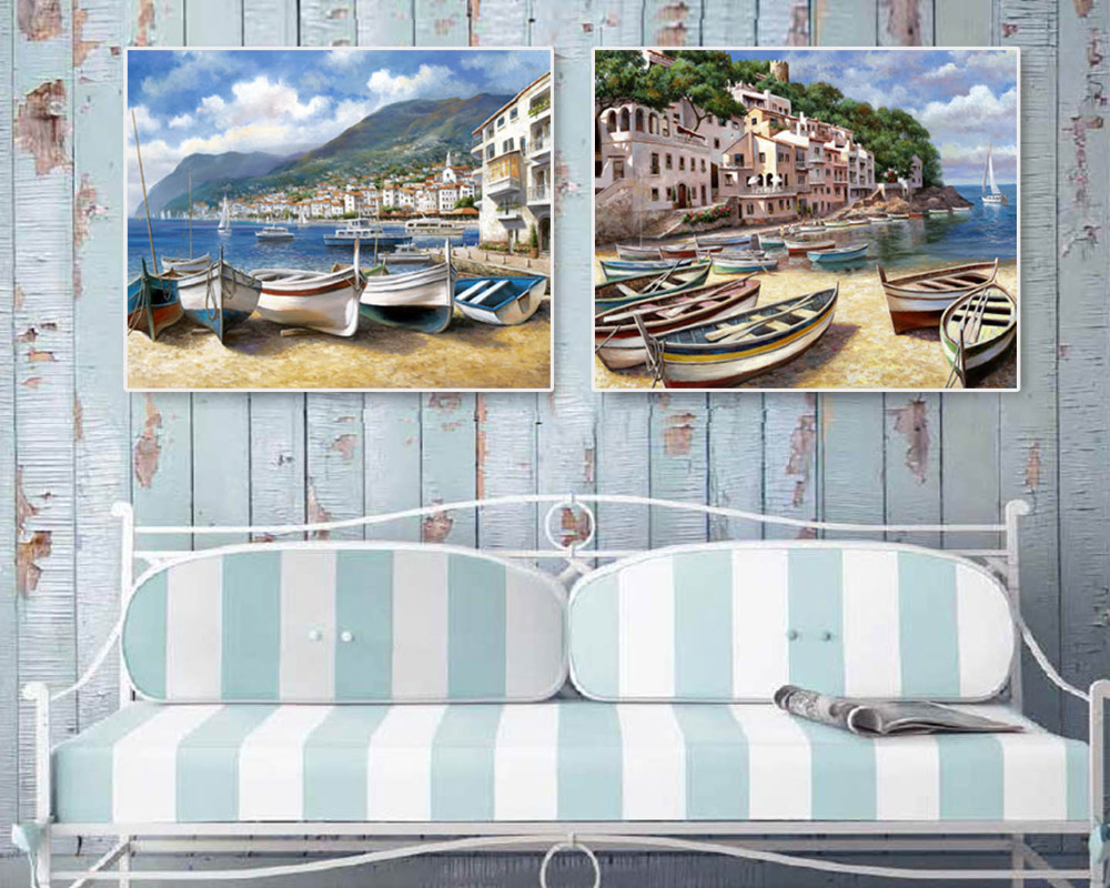 2pcs boats on the beach Canvas painting Giclee art Home deocr Wall art Wall pictures for living room Mediterranean style(China (Mainland))