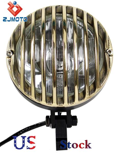 Zjmoto verzending supermoto gevangenis barcode grill zwart koplamp koplamp voor harley project trike chopper 2011 zwart en messing(China (Mainland))