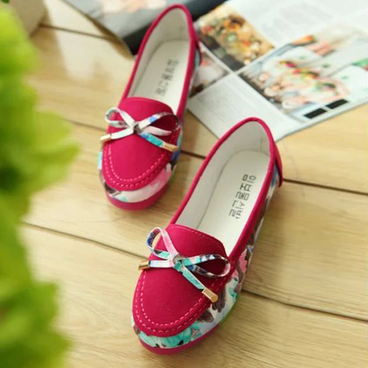 Women Shoes Flats Moccasins Faux Leather Bowknot Patchwork Shose Casual Loafers Sapatos Femininos Shoes Size 35-39(China (Mainland))