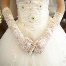 Opera Style With Full Fingers Lace Bridal Gloves White/Ivory/Black