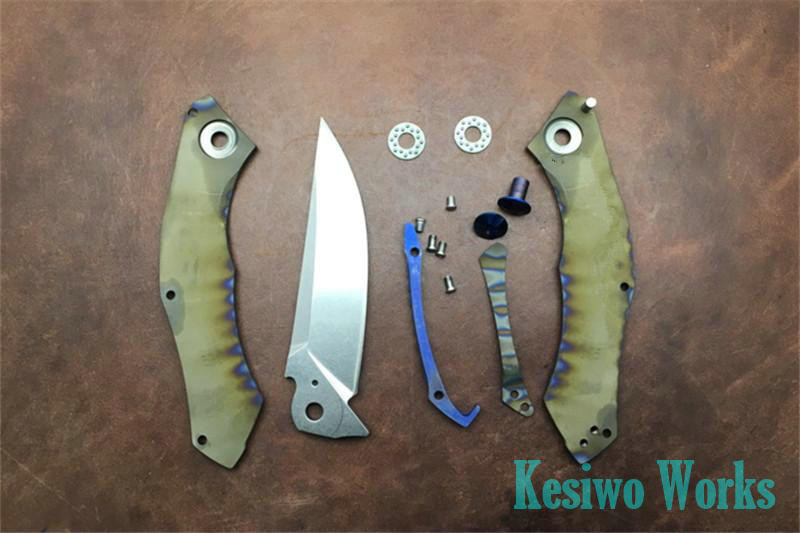 Buy KESIWO folding hunting knife titanium handle 59HRC D2 Blade camping outdoors survival tactical pocket knife bearing tools cheap