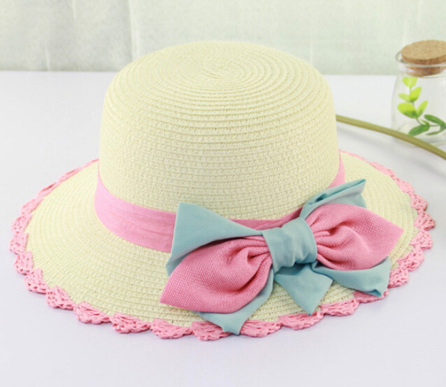 2015 New Fashion Summer Hat Women Foldable Wide Brim Floppy Beach Hat Sun Straw Hat Cap Women With Lace Bow(China (Mainland))