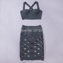 IN STOCK!!! Ship immediately!OCS Exclusive Summer New Arrival Dress  2016 Women Taupe Sexy Lattice Crossover Bandage 2 Piece Set(China (Mainland))