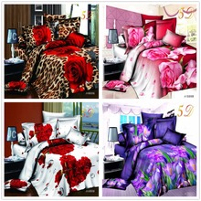 Home textiles cotton Leopard grain rose 3D bedding sets King size 4 Pcs of duvet cover bed sheet pillowcase bedclothes(China (Mainland))
