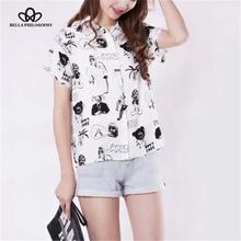 2016 spring summer new women's wholesale turn down collar cartoon black print short sleeve causal white shirts(China (Mainland))