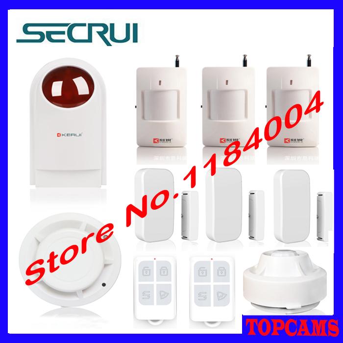 Kerui security alarm Wireless Strobe Siren+smoke sensor+remote controller+Door Sensor+PIR Detector+Ceiling infrared detector<br>