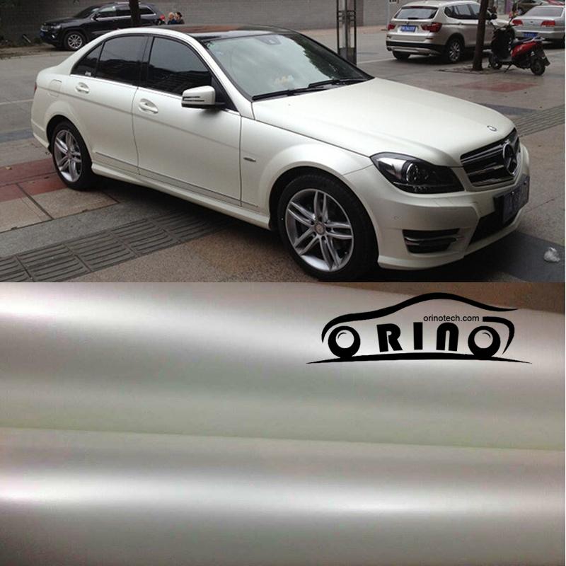 1.52x20m/Roll White Metallic Matt Vinyl wrap Car Wrap With Air Bubble Free Chrome Matt Film Vehicle Wrapping Sticker(China (Mainland))