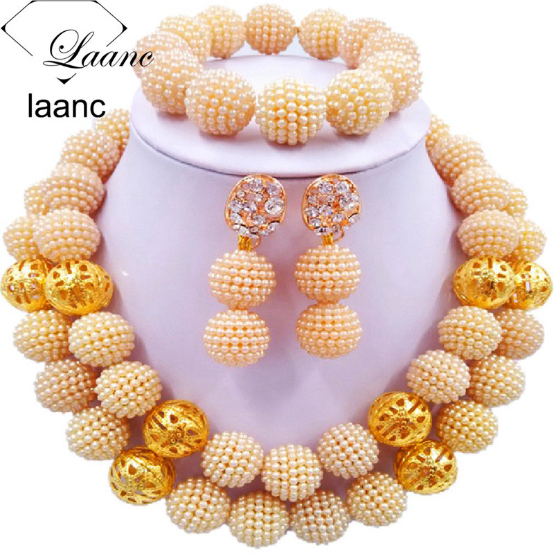 01-African Simulated Pearl Beads Jewelry Set Singe Color (8)