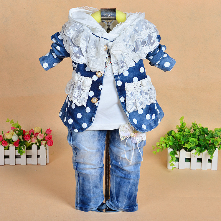 2014 baby clothing set bebe Girls fashion Lace Jeans 3pcs set polka dot coat outerwear + t-Shirts+ Pant denim suit<br><br>Aliexpress