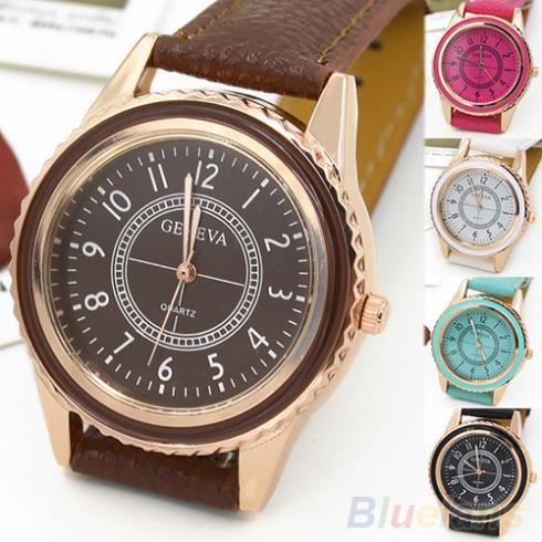 Mens Womens Rose Gold Plated Faux Leather Band Quartz Dial Wrist Watch 1VBN<br><br>Aliexpress