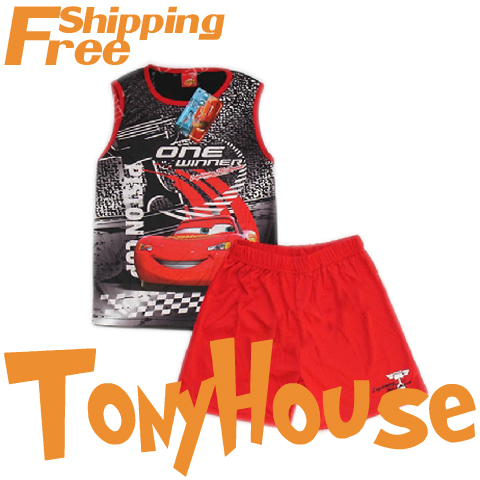 Wholesale Branded 2014 cartoon cars summer sleeveless basketeball suit pajamas boy's sportswear sets free shipping