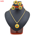Ethiopia jewelry Habesha Pendant rings bracelets earrings jewelry 18k Gold plated Colorful stone african bridal