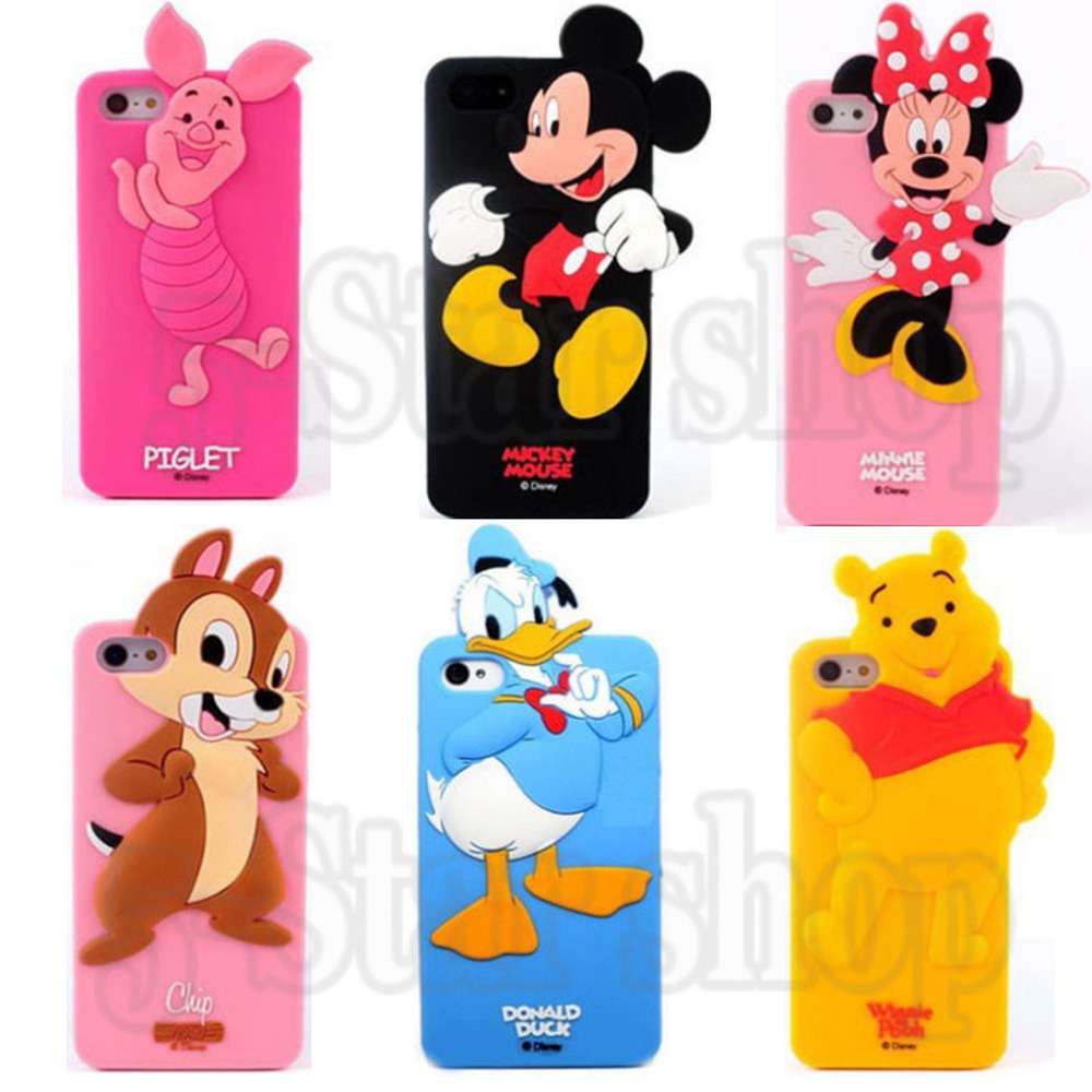 Fashion Lovely 3D Minnie Mouse Mickey Donald Duck Chip Piglet Pig Soft Silicone Case Cover iphone 5 5s/6 6s/6plus/4 4s - Factory store