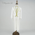 Children White Tailcoat Formal Golden Flowers Blazer Prom Wedding Boys Suits 5pcs Leisure Jacket Set Kids