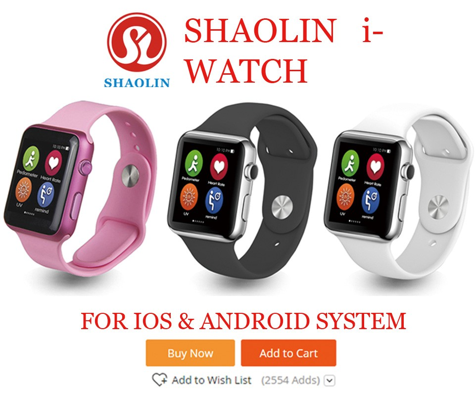 SHAOLIN Bluetooth Smart Watch wristwatch smartwatch with Dial SMS Remind Music Player Pedometer for Android Samsung Smartphones